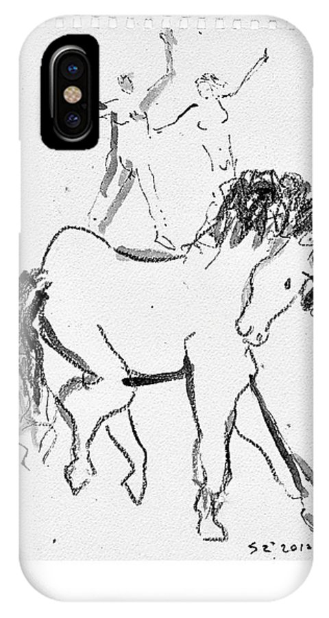 Horses IPhone X Case featuring the drawing Horse Sketch by Samuel Zylstra