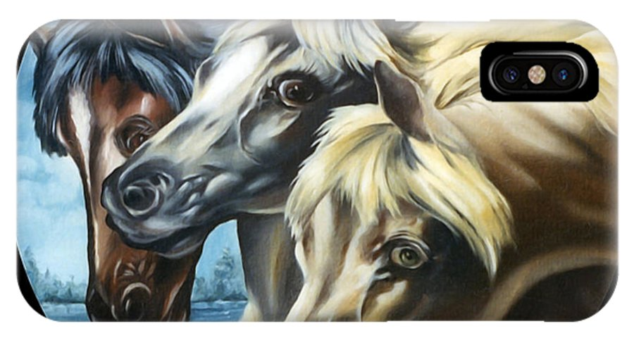 Nature IPhone X Case featuring the painting Horse Trio by Anthony DiNicola