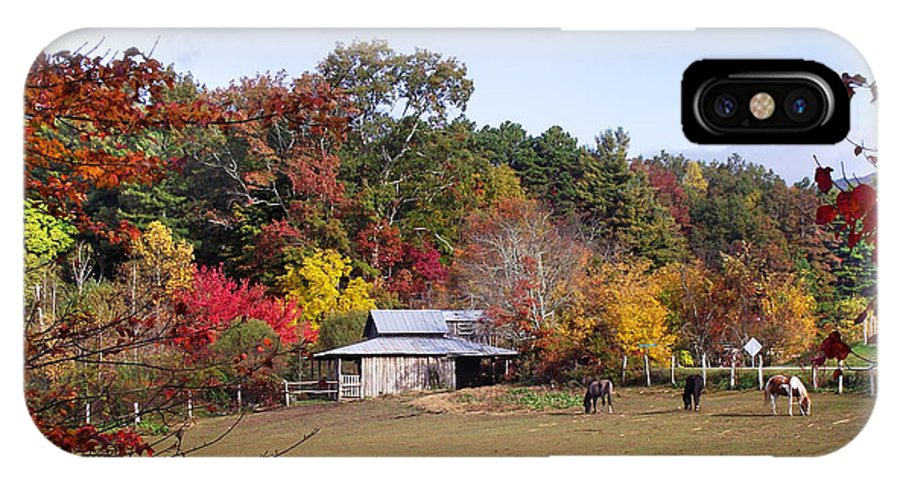 Duane Mccullough IPhone X Case featuring the photograph Horses And Barn In The Fall 2 by Duane McCullough