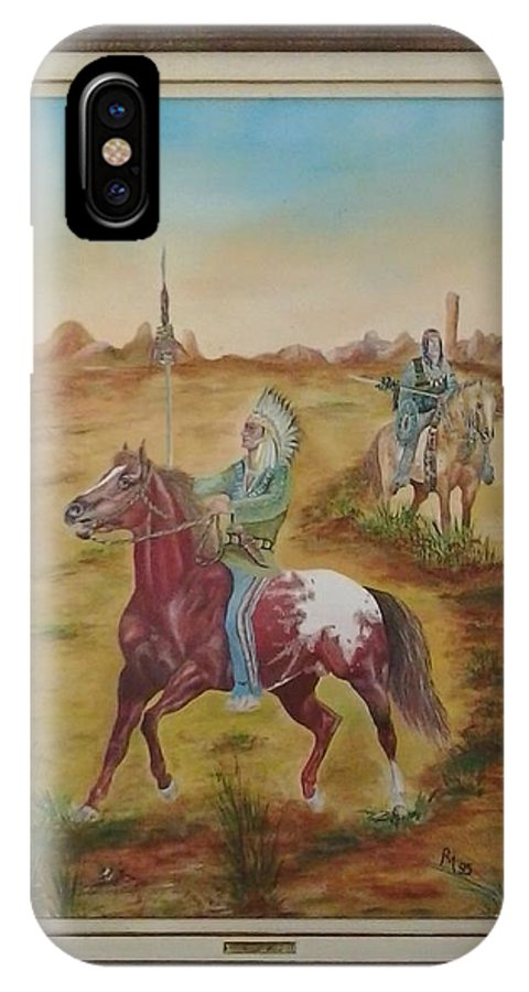 Horse IPhone X Case featuring the painting Horses by Ri Mo