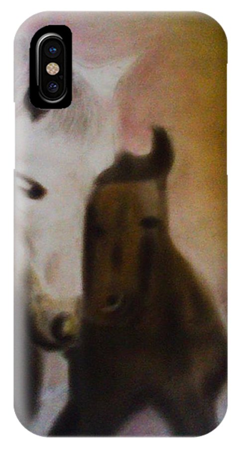 Horse IPhone X Case featuring the pastel Horses by Sumisha Chandan