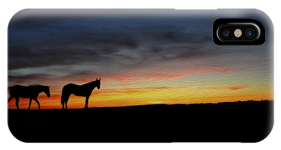Horse IPhone X Case featuring the photograph Horses Walking In The Sunset by Aged Pixel