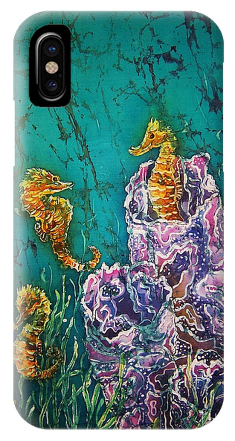 Seahorses IPhone X Case featuring the tapestry - textile Horsin Around by Sue Duda