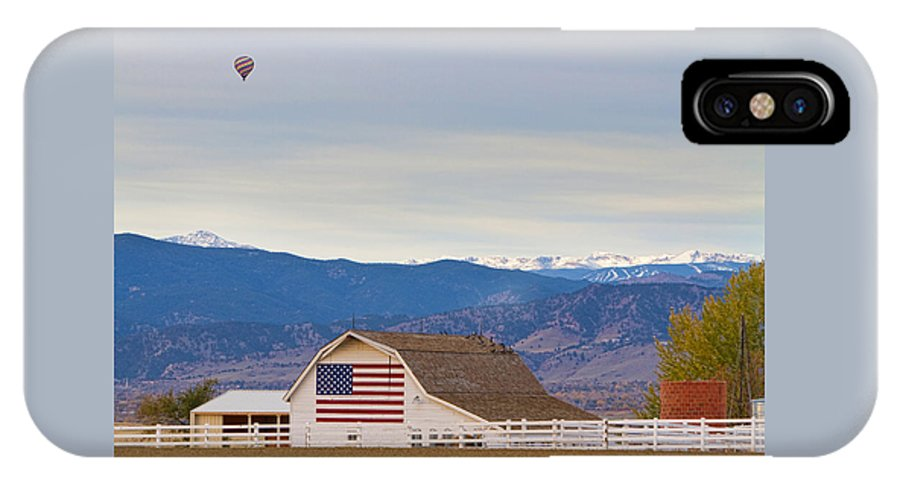 'hot Air Balloon' IPhone X Case featuring the photograph Hot Air Balloon Boulder Flag Barn And Eldora by James BO Insogna