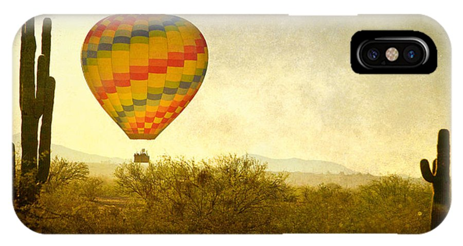 Arizona IPhone X Case featuring the photograph Hot Air Balloon Flight Over The Southwest Desert Fine Art Print by James BO Insogna