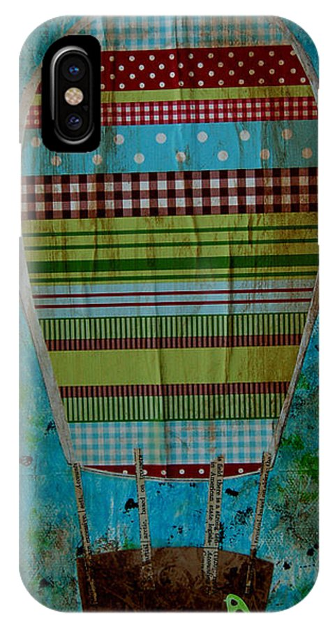 Hot Air Balloon IPhone X Case featuring the mixed media Hot Air Balloon In Blue Sky by Nicole Dietz
