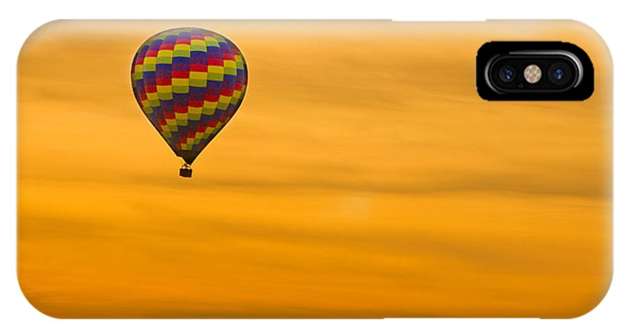 'hot Air Balloon' IPhone X Case featuring the photograph Hot Air Balloon In The Golden Sky by James BO Insogna