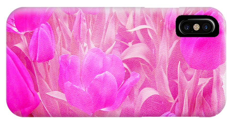 Tulips IPhone X Case featuring the photograph Hot Stuff  In Your Face Pink Tulips by Mother Nature