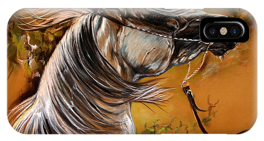 Horse IPhone X Case featuring the drawing Hot Temper by Angel Ciesniarska