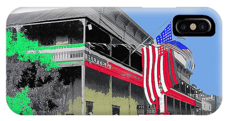 Hotel Orndorff American Flags Tucson Arizona Circa 1915 Color Added IPhone X Case featuring the photograph Hotel Orndorff Colored American Flags Tucson Arizona Circa 1915-2012 by David Lee Guss