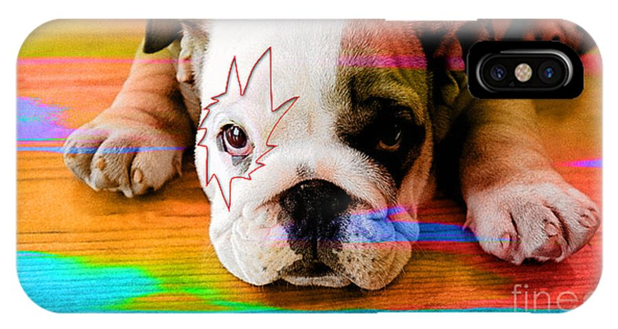 American Bulldog Puppy IPhone X Case featuring the mixed media House Broken Bulldog Puppy by Marvin Blaine