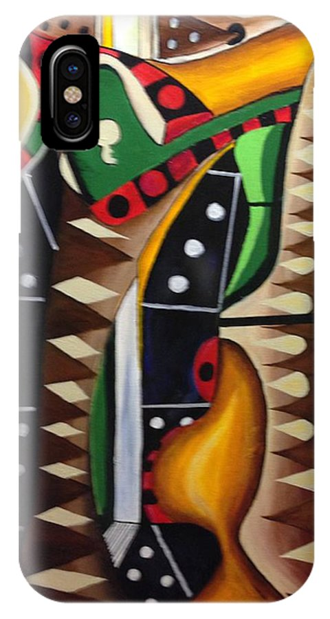Games IPhone X Case featuring the painting House Games II by Anthony Hurt