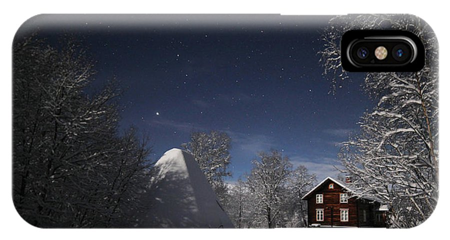 Arctic IPhone X Case featuring the photograph House In Moonlight by Pekka Sammallahti