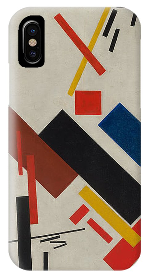 Kazimir Malevich IPhone X Case featuring the painting House Under Construction by Kazimir Malevich