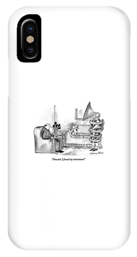 Woman Wrapped In A Tuba Exclaims To Her Husband Who Is Sitting In Their Living Room.  Instrument IPhone X Case featuring the drawing Howard, I Found My Instrument! by Victoria Roberts