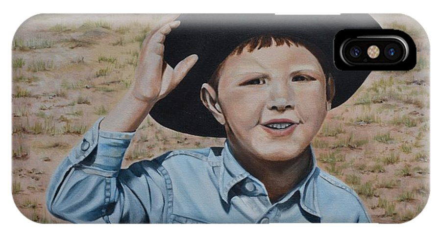 Usa IPhone X Case featuring the painting Howdy Ma'am by Mary Rogers