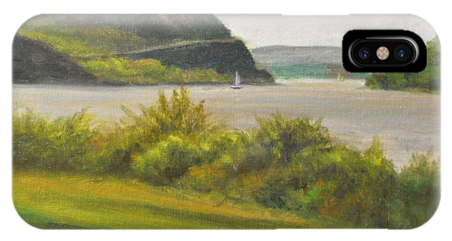 Landscape IPhone X Case featuring the painting Hudson River At Cold Spring by Phyllis Tarlow