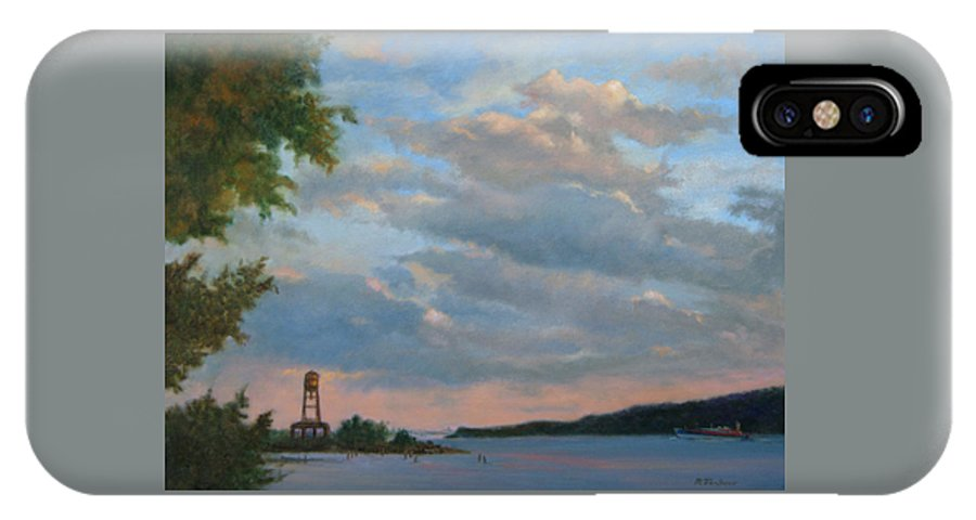 Hudson River IPhone X Case featuring the painting Hudson River Skyscape by Phyllis Tarlow