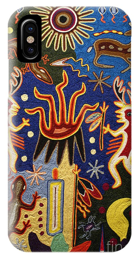 Mexico IPhone X Case featuring the photograph Huichol Yarn Painting Mexico by John Mitchell
