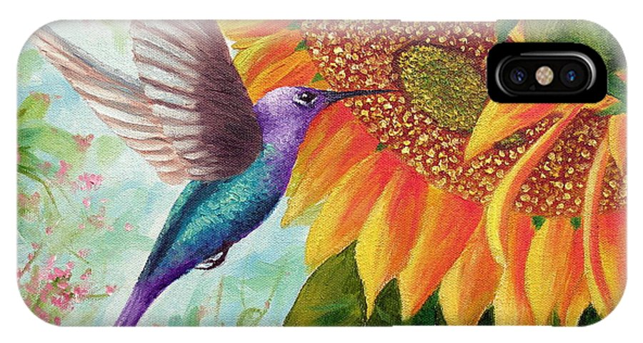 Hummingbird IPhone X Case featuring the painting Humming For Nectar by David G Paul