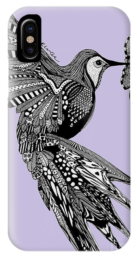 Hummingbird IPhone X Case featuring the drawing Hummingbird Flight 10 by Karen Larter