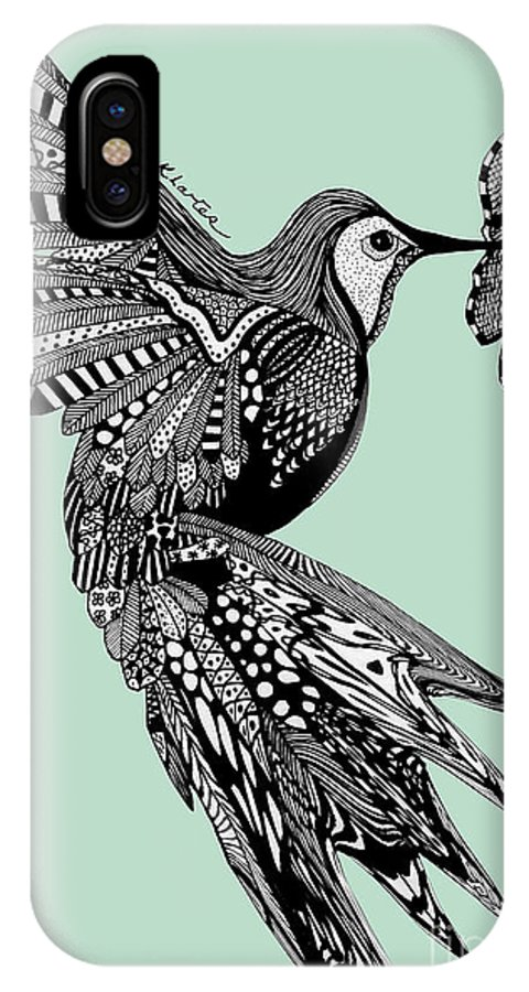 Hummingbird IPhone X Case featuring the drawing Hummingbird Flight 14 by Karen Larter