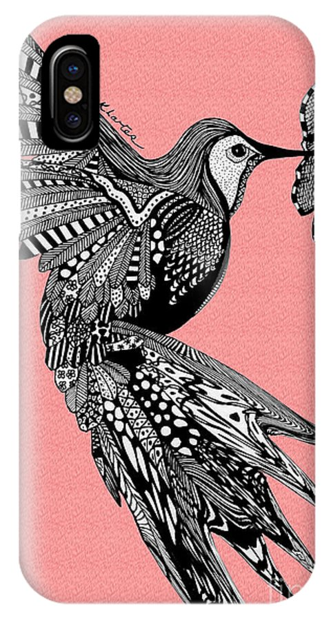 Hummingbird IPhone X Case featuring the drawing Hummingbird Flight 18 by Karen Larter