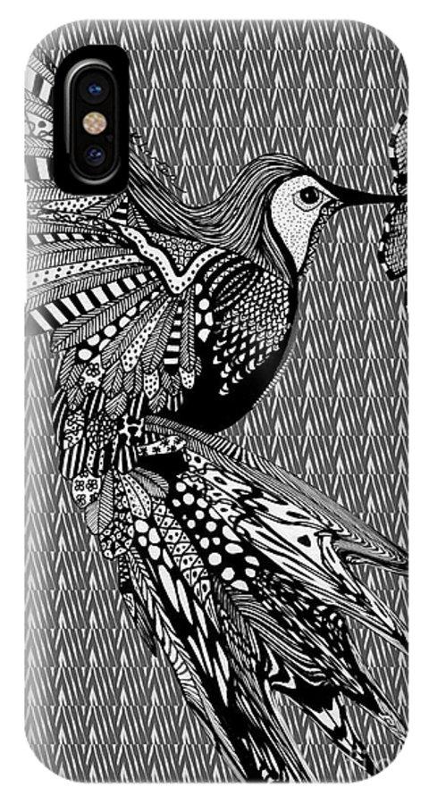 Hummingbird IPhone X Case featuring the drawing Hummingbird Flight 20 by Karen Larter