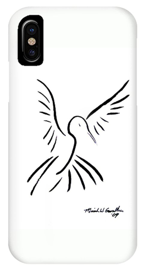 Bird IPhone Case featuring the drawing Hummingbird by Micah Guenther