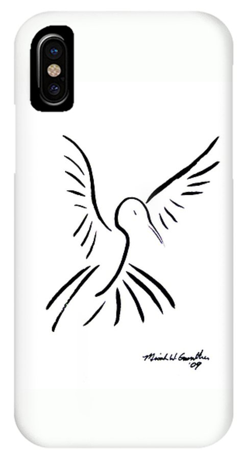 Bird IPhone X Case featuring the drawing Hummingbird by Micah Guenther