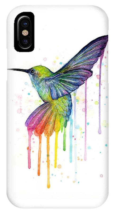 Hummingbird IPhone X Case featuring the painting Hummingbird of Watercolor Rainbow by Olga Shvartsur