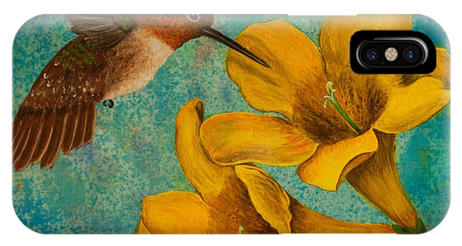 Bird IPhone X Case featuring the painting Hummingbird With Yellow Jasmine by Susan Cliett
