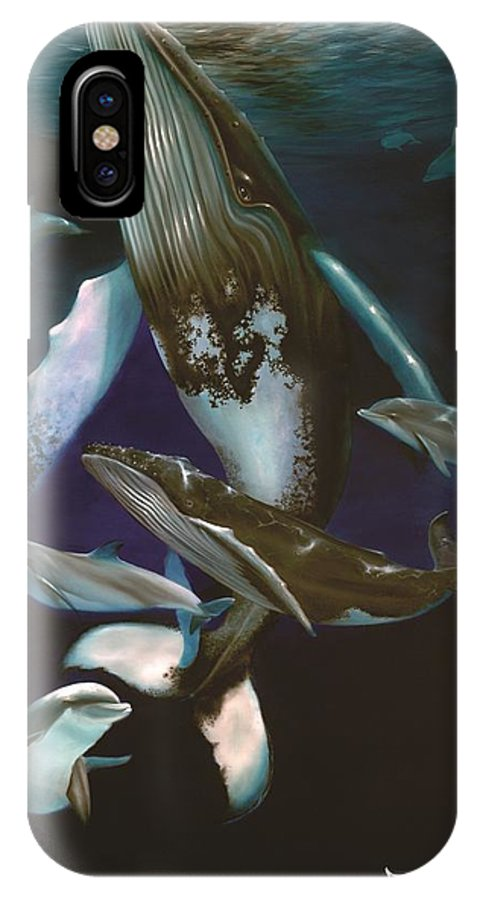 Whale IPhone X Case featuring the painting The New Cousin by Michael Alexander