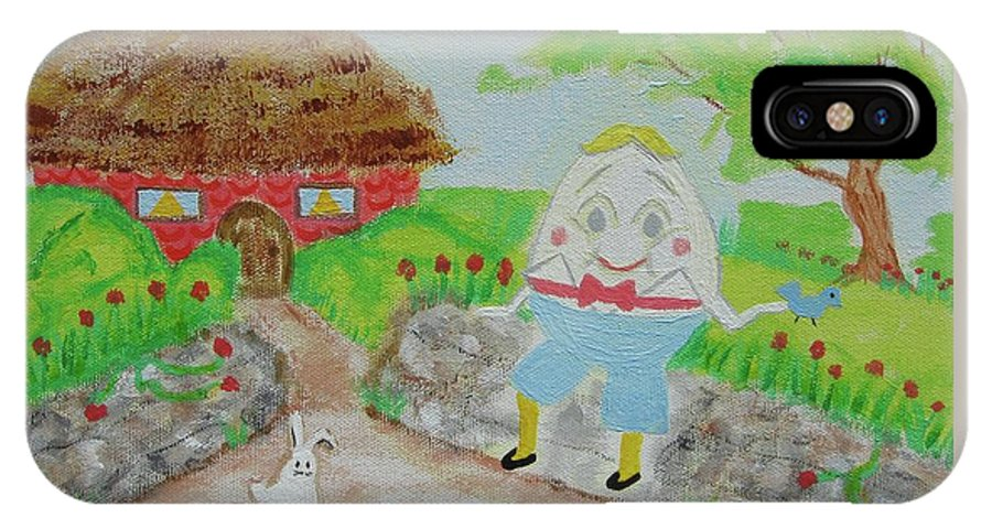 Humpty Dumpty IPhone X Case featuring the painting Humpty's House by Diane Pape