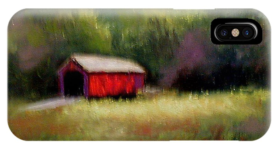 Covered Bridge IPhone X Case featuring the painting Hune Bridge by Gail Kirtz