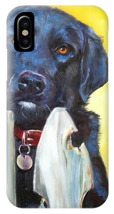Black Labrador IPhone X Case featuring the painting Hunter by Karen Langley