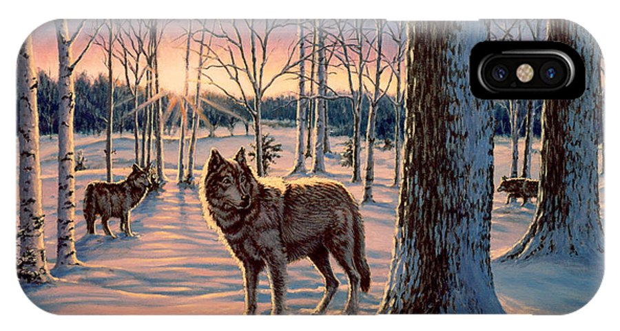 Wolf IPhone X Case featuring the painting Hunters at Twilight by Richard De Wolfe