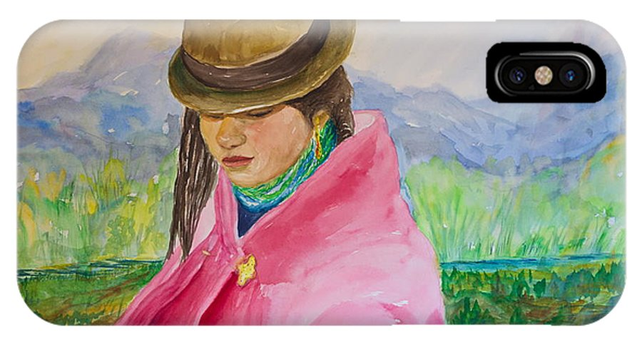 Andes IPhone X Case featuring the painting Huri The Andean Girl by Yolanda DeCosta