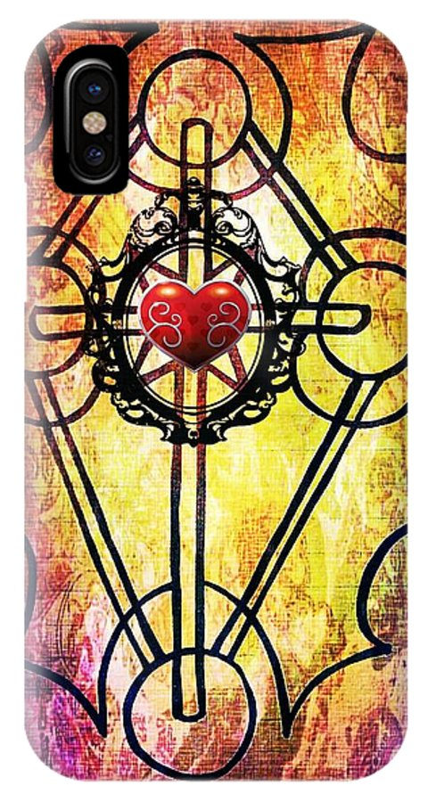 Tribal IPhone X Case featuring the mixed media Hurting Heart by Alexander Ladd