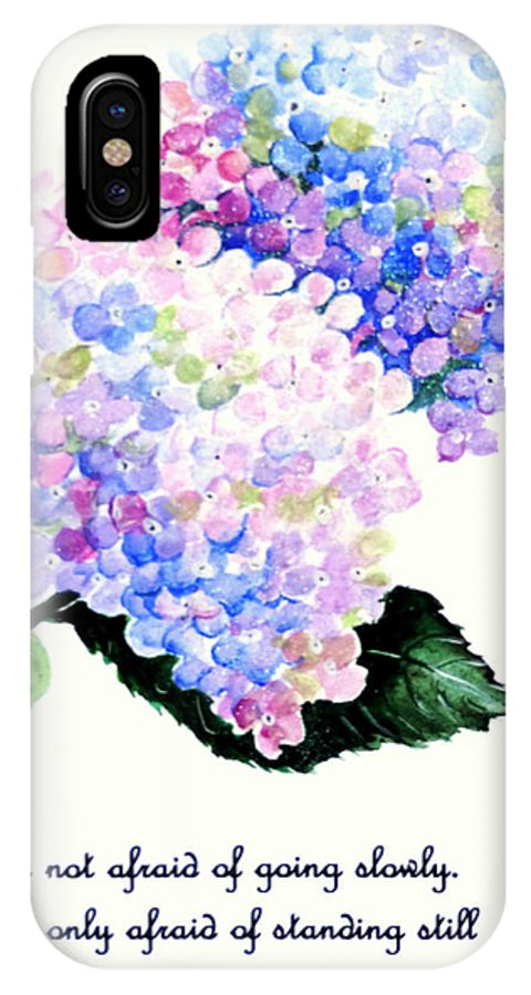 Floral IPhone X Case featuring the painting Hydranga Poem by Karin Dawn Kelshall- Best