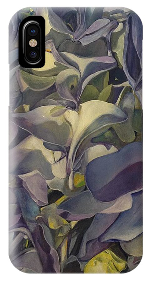 Hydrangea IPhone X Case featuring the painting Hydrangea by Lin-Lin Mao