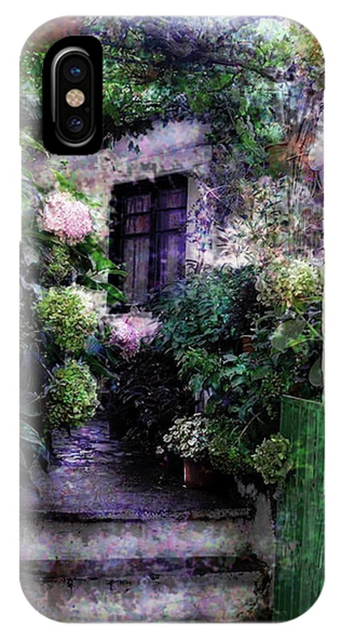 Seascape Photography Photographs Iphone Cases IPhone X Case featuring the photograph Hydrangeas In Rhodes by Judy Paleologos