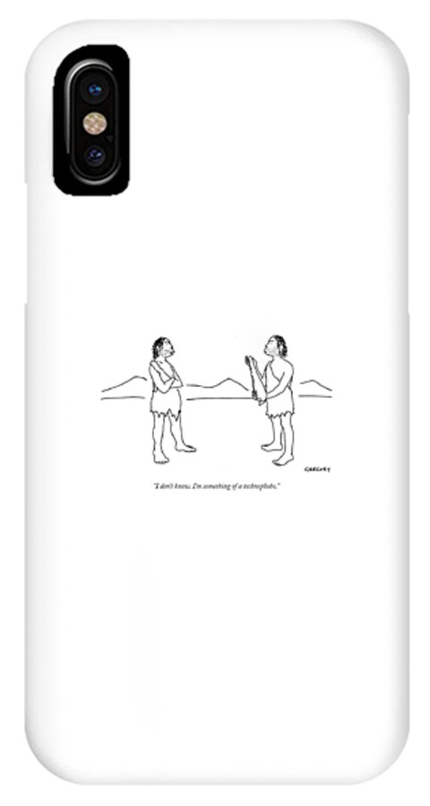Cavemen IPhone X Case featuring the drawing I Don't Know. I'm Something Of A Technophobe by Alex Gregory