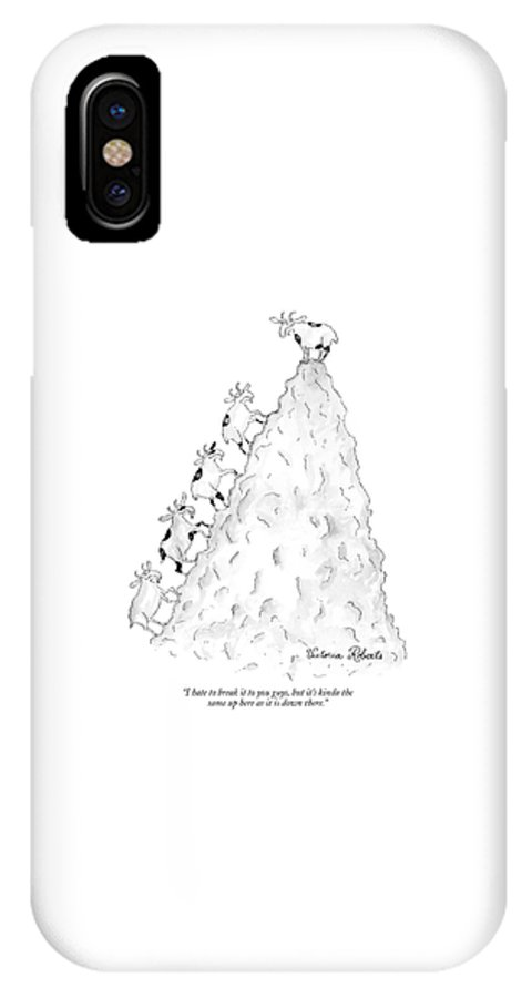 Word Play Goats Talking  (mountain Goat On Mountain Peak To Others Climbing Up.) 120136 Vro Victoria Roberts IPhone X Case featuring the drawing I Hate To Break It To You Guys by Victoria Roberts