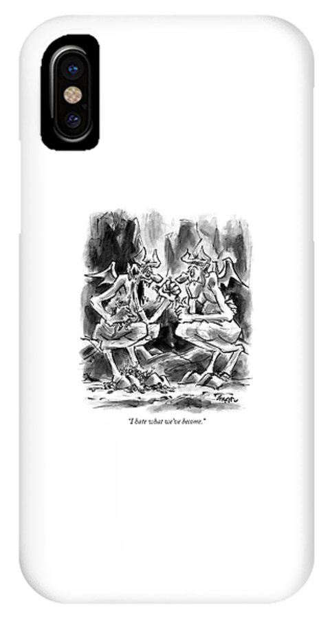 Devils IPhone X Case featuring the drawing I Hate What We've Become by Lee Lorenz
