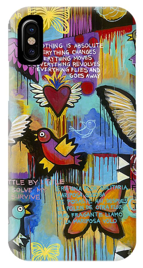 Wings IPhone X Case featuring the painting I Have Wings To Fly by Carla Bank