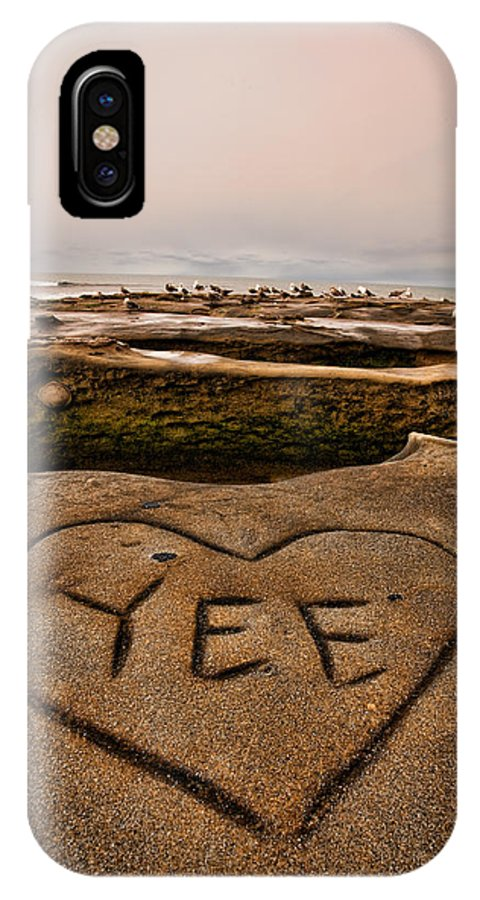 Beach IPhone X Case featuring the photograph I Heart Yee by Peter Tellone