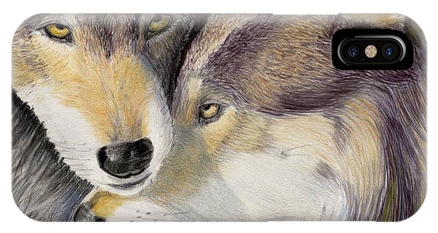 Wolf IPhone X Case featuring the painting I Love You by Ruth Seal