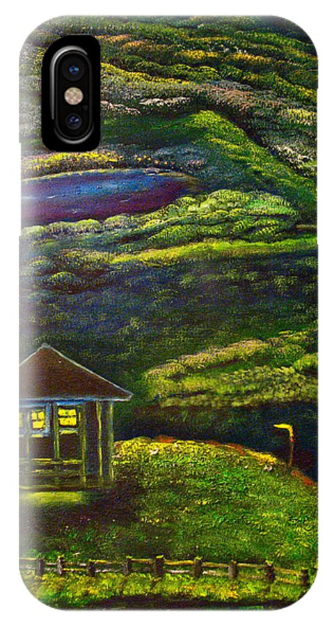 Landscape IPhone X Case featuring the painting One Weekend by Frank B Shaner