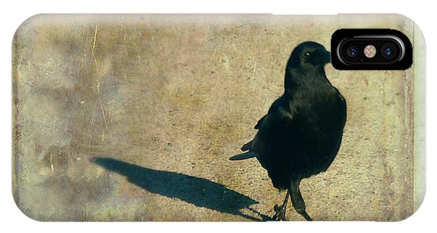 Crow IPhone X Case featuring the photograph I Walk Alone by Gothicrow Images